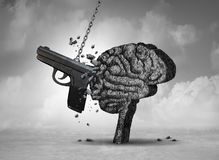 Gun Violence And Mental Health. Gun violence and mental illness health concept as a psychiatric brain disorder risk with 3D illustration elements Royalty Free Stock Photos