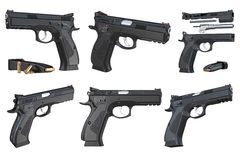 Gun weapon black modern pistol set Royalty Free Stock Photos