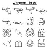 Gun & Weapon icon set in thin line style royalty free illustration
