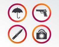 Gun weapon. Knife, umbrella and photo camera. Gun weapon icon.Knife, umbrella and photo camera with flash signs. Edged hunting equipment. Prohibition objects Royalty Free Stock Photos