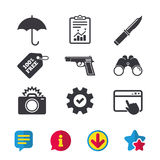 Gun weapon. Knife, umbrella and photo camera. Gun weapon icon.Knife, umbrella and photo camera with flash signs. Edged hunting equipment. Prohibition objects Stock Photography