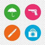 Gun weapon. Knife, umbrella and photo camera. Gun weapon icon.Knife, umbrella and photo camera with flash signs. Edged hunting equipment. Prohibition objects Royalty Free Stock Photography