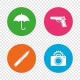 Gun weapon. Knife, umbrella and photo camera. Royalty Free Stock Photography