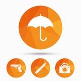 Gun weapon. Knife, umbrella and photo camera. Stock Photography