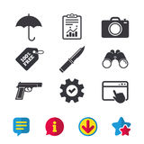 Gun weapon. Knife, umbrella and photo camera. Gun weapon icon.Knife, umbrella and photo camera signs. Edged hunting equipment. Prohibition objects. Browser Royalty Free Stock Photos