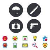Gun weapon. Knife, umbrella and photo camera. Gun weapon icon.Knife, umbrella and photo camera signs. Edged hunting equipment. Prohibition objects. Calendar Royalty Free Stock Photo
