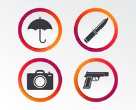 Gun weapon. Knife, umbrella and photo camera. Gun weapon icon.Knife, umbrella and photo camera signs. Edged hunting equipment. Prohibition objects. Infographic Stock Image