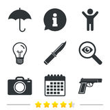 Gun weapon. Knife, umbrella and photo camera. Gun weapon icon.Knife, umbrella and photo camera signs. Edged hunting equipment. Prohibition objects. Information Royalty Free Stock Photo