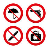 Gun weapon. Knife, umbrella and photo camera Royalty Free Stock Photo