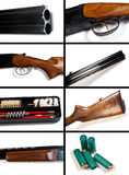 The gun  on white background. Collage. Royalty Free Stock Photos