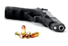 Gun With Hollow Point Bullets Stock Images