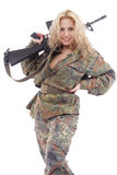 Gun woman. Shot of a beautiful girl holding gun. Uniform conforms to special services(soldiers) of the NATO countries. Shot in studio. Isolated on white stock images
