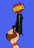 Gun in woman hand. Pop art stile. Vector illustration Stock Image