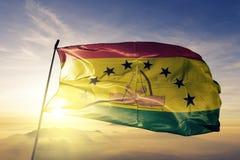 Guna Yala District of Panama flag textile cloth fabric waving on the top sunrise mist fog. Beautiful stock illustration