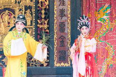 GUNAGDONG, CHINA - 28 Nov. 2015: Chinese opera in Foshan Ancestra Royalty-vrije Stock Afbeeldingen