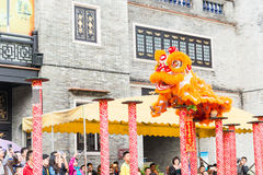 GUNAGDONG, CHINA - Nov 28 2015: Lion Dance at Foshan Ancestral T. Emple(Zumiao Temple). a famous historic site in Foshan, Guangdong, China Royalty Free Stock Photo