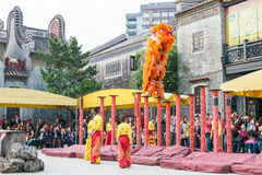 GUNAGDONG, CHINA - Nov 28 2015: Lion Dance at Foshan Ancestral T Stock Photo