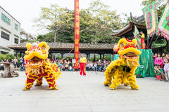 GUNAGDONG, CHINA - Nov 28 2015: Lion Dance at Foshan Ancestral T Royalty Free Stock Images