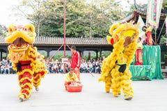 GUNAGDONG, CHINA - 28 Nov. 2015: Lion Dance in Foshan Voorouderlijk T Royalty-vrije Stock Afbeelding