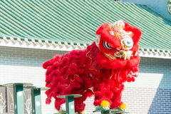GUNAGDONG, CHINA - 27 Nov. 2015: Lion Dance in Wong Fei Hung Lion Royalty-vrije Stock Afbeeldingen