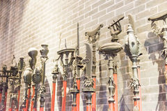 GUNAGDONG, CHINA - Nov 28 2015: Old weapons at Foshan Ancestral. Temple(Zumiao Temple). a famous historic site in Foshan, Guangdong, China Royalty Free Stock Photo