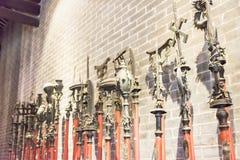 GUNAGDONG, CHINA - Nov 28 2015: Old weapons at Foshan Ancestral Royalty Free Stock Photo