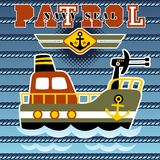 Gunboat cartoon vector Stock Image