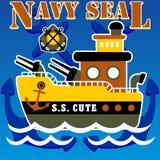 Gunboat cartoon vector Stock Photo