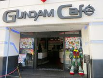 Gundam Cafe. The Gundam Cafe is Akihabra District, Tokyo. Gundam is a popular anime transformer character in Japan. Akihabra has many cafes of pop culture and Royalty Free Stock Photos