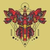 Big gundam fighter sacred geometry vector illustration