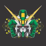 Green gundam head stock illustration