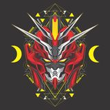 Red moon gundam head stock illustration