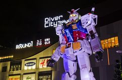 A Gundam located in Diver city Stock Images