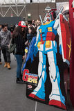 Gundam robot and people at Festival del Fumetto convention in Milan, Italy Stock Image