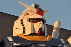 Gundam robot. Replica in Tokyo. The sculpture is 18m tall and is the tallest replica of famous anime franchise robot, Gundam Royalty Free Stock Image