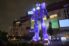 Gundam RX78-2 with light show in Tokyo Royalty Free Stock Images