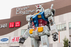 Gundam statue life size standing in Odaiba Royalty Free Stock Photography