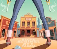 Gunfight in wild west town stock illustration