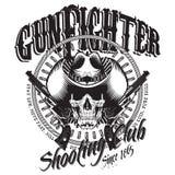 Gunfighter del diseño El cráneo en el sombrero de vaquero, dos cruzó el arma y balas stock de ilustración