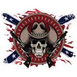 Gunfighter del diseño El cráneo en el sombrero de vaquero, dos cruzó el arma y balas, en el contexto de la bandera confederada am stock de ilustración