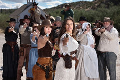 Gunfighters Outside in Old Town Royalty Free Stock Image
