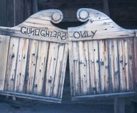 A Gunfighters Only Wooden Swinging Saloon Door Stock Photography