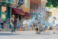 GunfightReenactment i Deadwood, South Dakota Arkivbilder