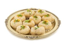 Gunja Peda or Thor peda. Indian Traditional Gunja peda Sweet Food Also Know as Thor peda Dessert isolated on White Background Royalty Free Stock Photography