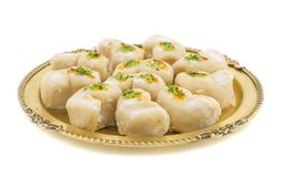 Gunja Peda or Thor peda. Indian Traditional Gunja peda Sweet Food Also Know as Thor peda Dessert isolated on White Background Stock Images