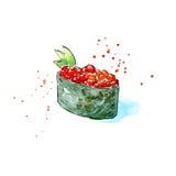 Gunkan av en röd kaviar och gurka Japansk kokkonst royaltyfri illustrationer