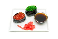 Gunkan with caviar, soy sauce and pickled ginger Stock Image