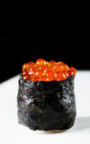 Gunkan Ikura Sushi. On a black and white background Stock Photography