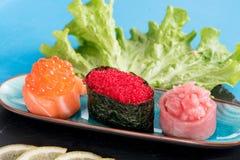 Gunkan maki sushi served Stock Photos