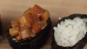Gunkan roll sushi stock video